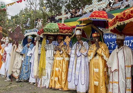 clergy procession for meskel celebration coptic
