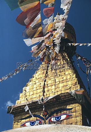 asia nepal kathmandu sunlight illumens bodnath