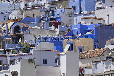 morocco chefchaouen housing shops and satellite