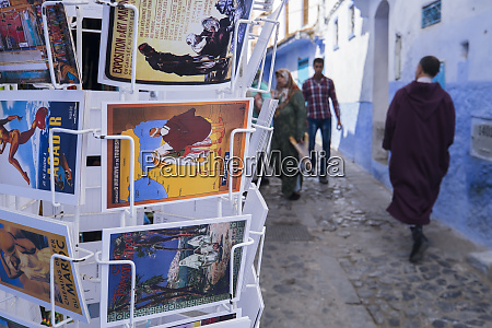 morocco chefchaouen people walking in the