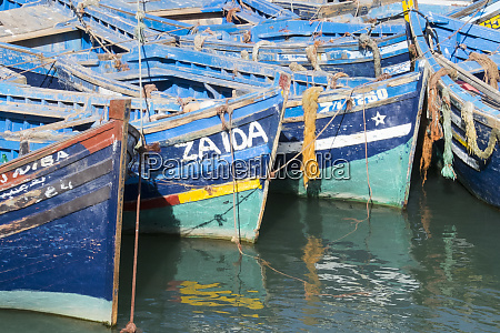 morocco essaouira small boats tied in