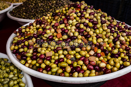 chefchaouen morocco assorted multi colored olives