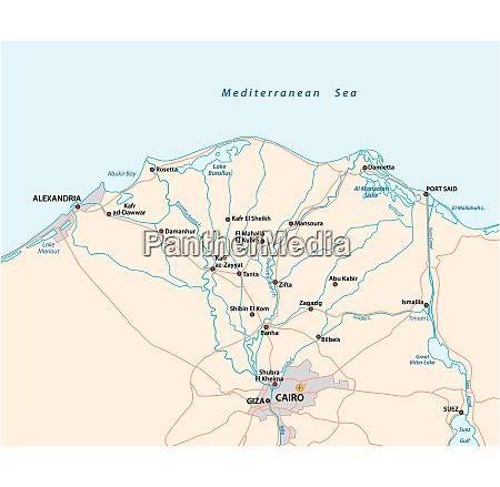 map of the nile river delta