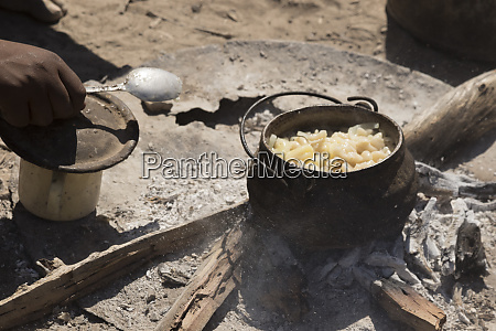 africa namibia opuwo lunch time preparation