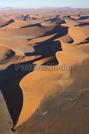aerial view over sossusvlei sand dunes