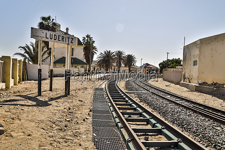 africa namibia railroad tracks at luederitz