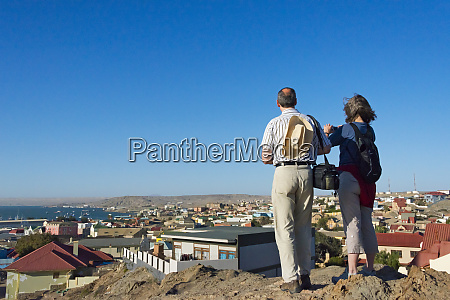 tourists watching old town luderitz karas