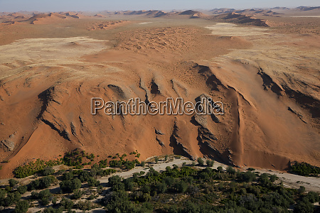 desert meets fertile land aerial view