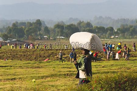 woman carrying big sack on head