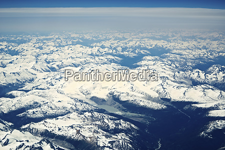 canada flying above the canadian rockies