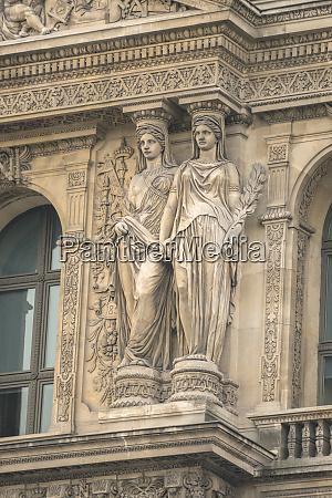 exterior sculpture louvre paris france