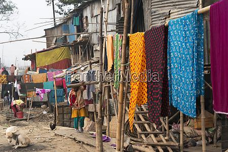 drying laundry in the slum dhaka