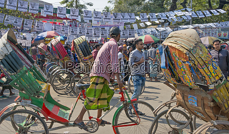 rickshaws and election banners on the