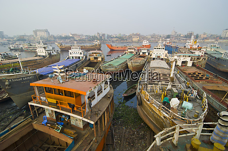 stripped down ships in the harbor
