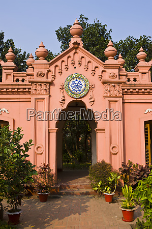 the pink colored ahsan manzil palace