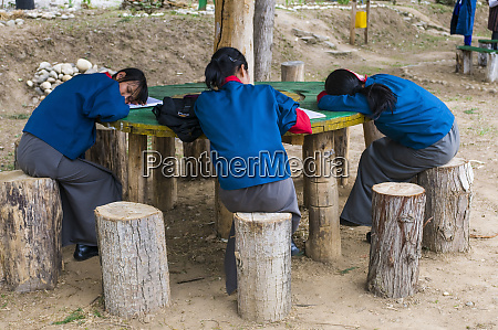 young students are learning punakha bhutan