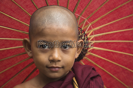 myanmar portrait of a young monk