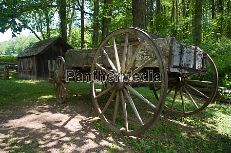 wooden horse wagon next to a