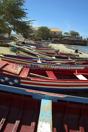 close up on olorful fishing boats