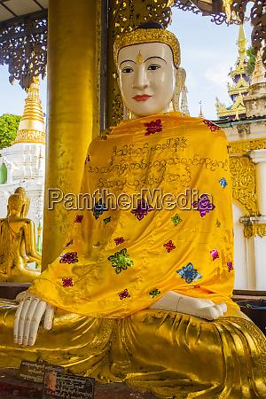 myanmar yangon shwedagon pagoda buddha wrapped