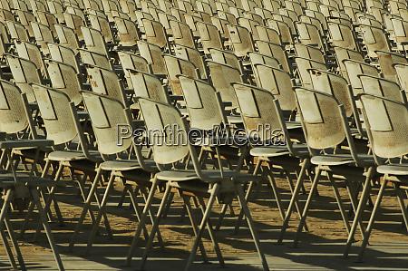 egypt giza empty grey chairs aligned