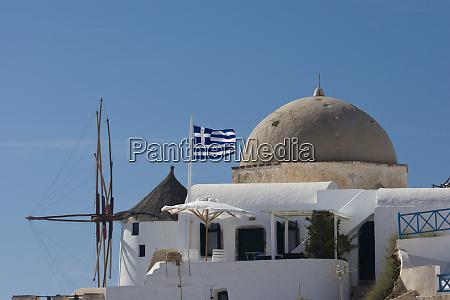 greece santorini thira oia windmill and