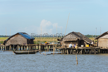 village houses on the shore of