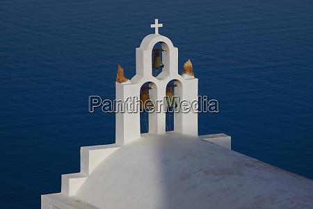 greece santorini bell tower and church