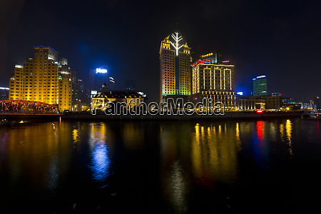 shanghai china evening cityscape and evening