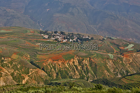 town below in the red lands