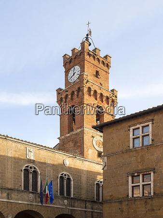 europe italy tuscany pienza clock tower