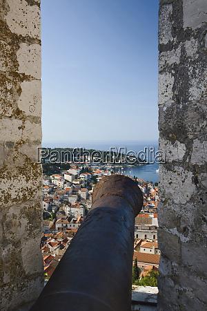 cannon from hvar castle overlooking hvar