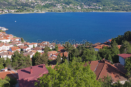 view of houses by lake ohrid
