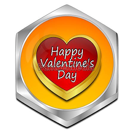 orange happy valentines day button