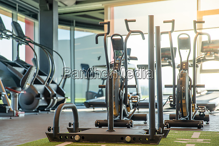 fitness machines in a modern gym