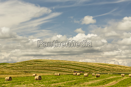 hay bales and clouds palouse region