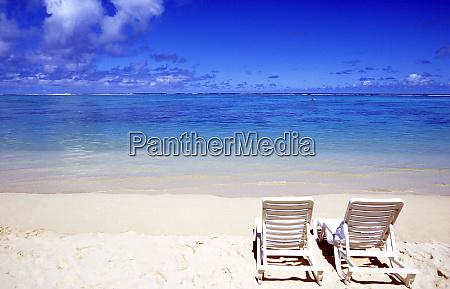 beach chairs on beach raratonga cook