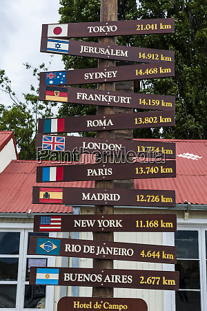 signpost in the outback of patagonia