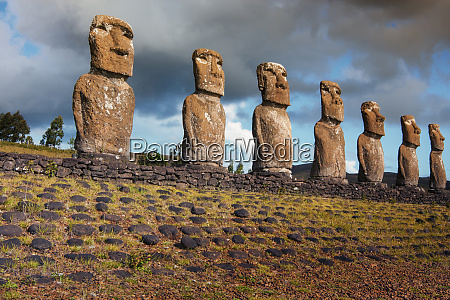 easter island chile a row of