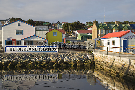 uk falkland islands stanley welcome sign