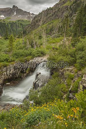 usa colorado san juan mountains waterfall