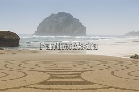 usa oregon bandon beach sand art
