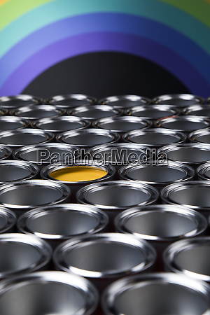 group of tin metal cans with