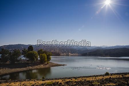 a landscape scene on lake mendocino