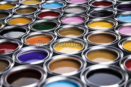 rainbow colors group of tin metal