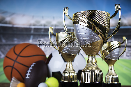 trophy winning sport ball background