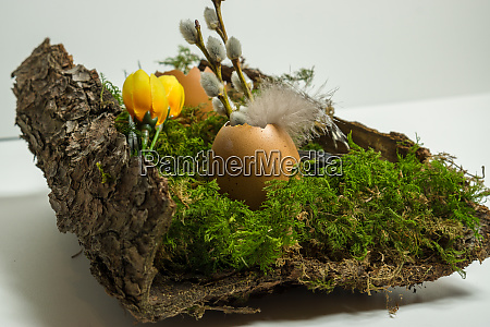 easter decoration with egg shell