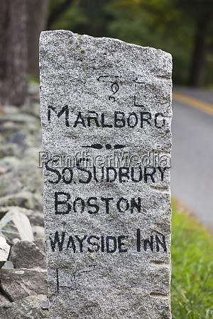 usa massachusetts sudbury stone road marker