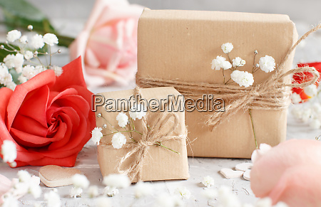 gift bags and flowers