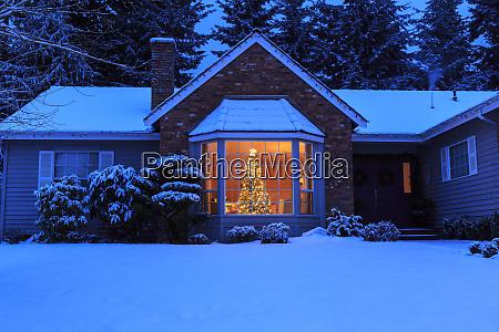 snow dusting suburban subdivision